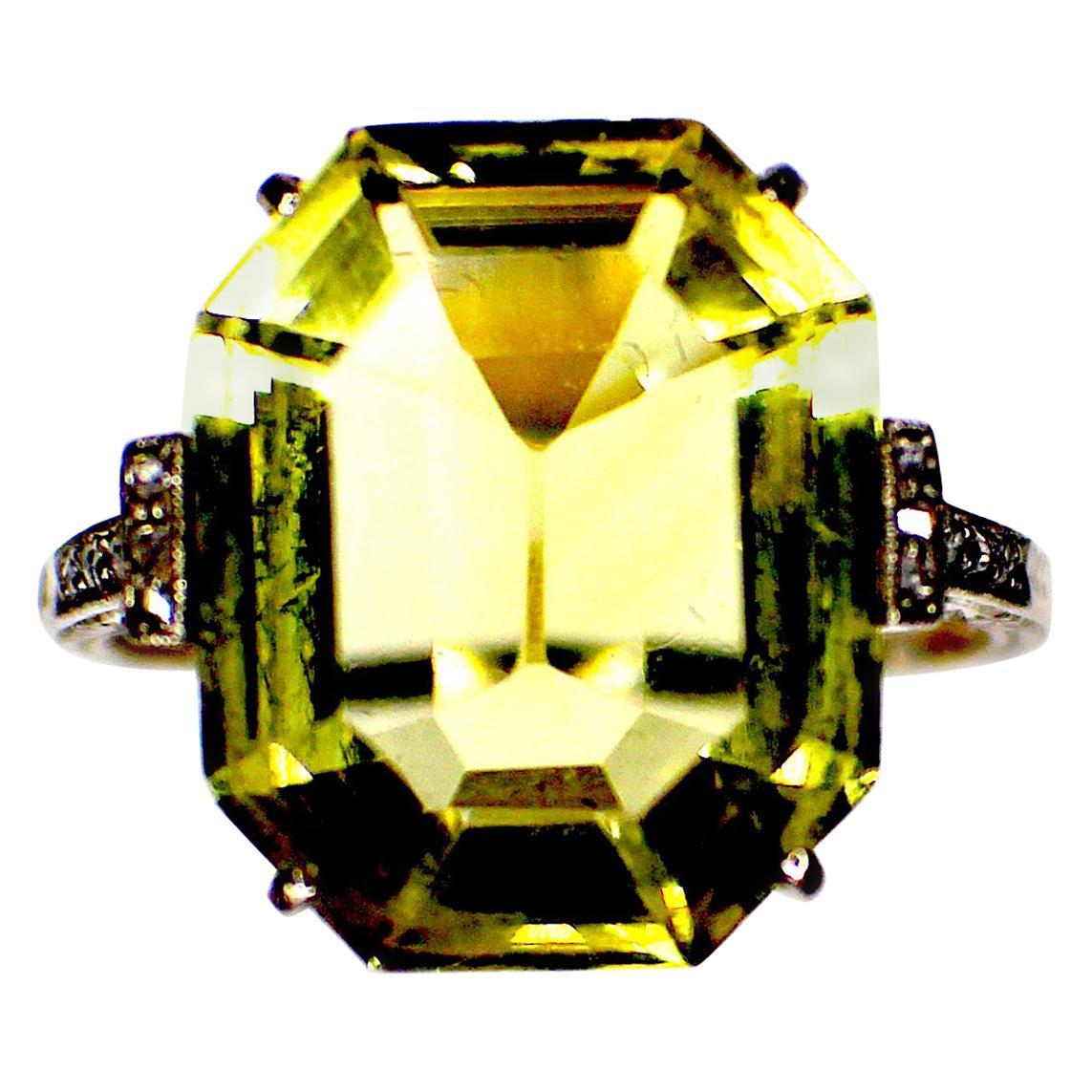 GEMOLITHOS Belle Époque Citrin and Diamond Ring in Platinum