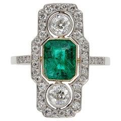 Belle Époque Colombian Emerald Diamond Rare Platinum Ring