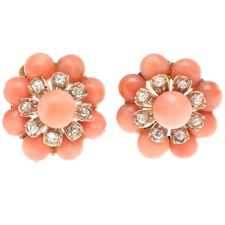 Belle Époque Coral Diamond Earring Brooch Ensemble In Excellent Condition For Sale In Beverly Hills, CA