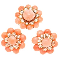 Belle Époque Coral Diamond Earring Brooch Ensemble