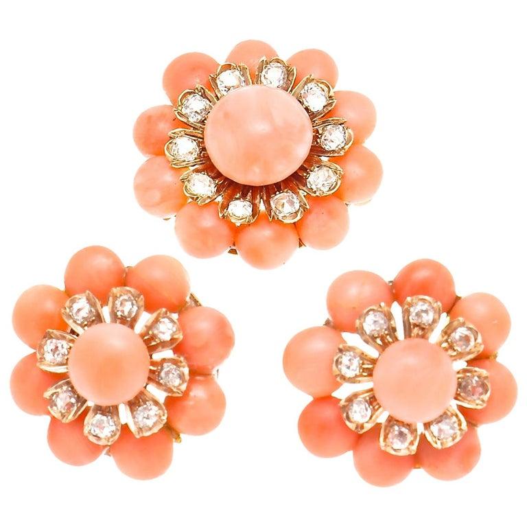 Belle Époque Coral Diamond Earring Brooch Ensemble For Sale