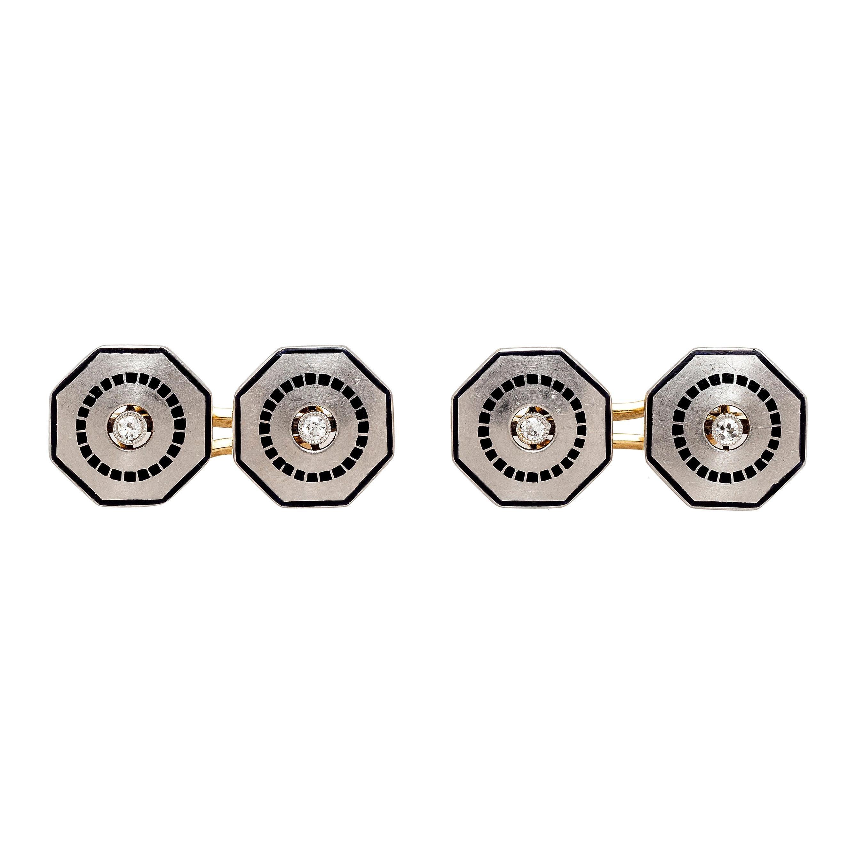 Belle Époque Cufflinks Diamond 18 Karat Yellow Gold Black Enamel Cufflinks
