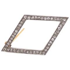 Belle Époque Diamond Brooch in Platinum and 18 Karat Yellow Gold