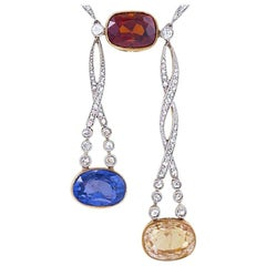 Belle Époque Diamond, Garnet, Sapphire, Diamond, Platinum and Gold Lavaliere