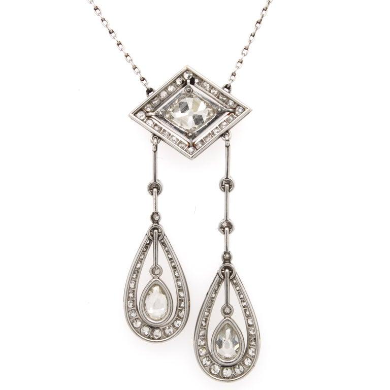Belle Époque Diamond Negligee Lavalier, 1900 For Sale 1