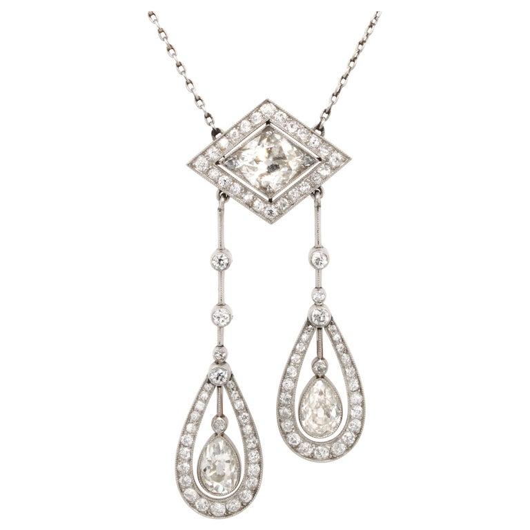 Belle Époque Diamond Negligee Lavalier, 1900 For Sale