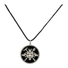 Belle Époque Diamond Onyx Platinum 18 Karat Gold French Flower Garden Pendant