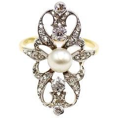 Belle Époque Diamond Pearl Gold Platinum Ring