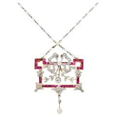 Belle Époque Diamond Pearl Ruby Platinum-Topped 18 Karat Gold Pendant Necklace