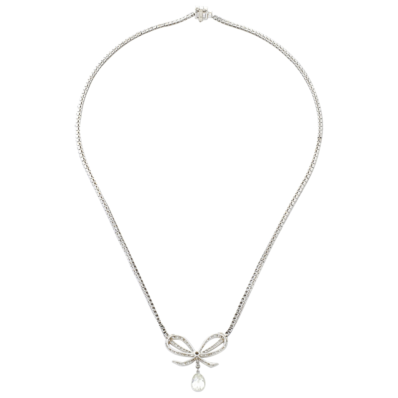 Belle Époque Diamond Platinum Bow Pendant Necklace