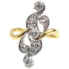Belle Époque Diamond Platinum on Gold Scroll Ring