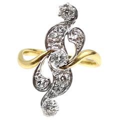 Belle-Époque Diamond Platinum on Gold Scroll Ring