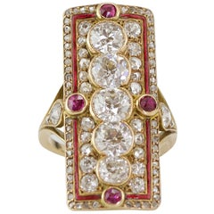 Belle Époque Diamond, Red Enamel and Rubies Marquise Ring