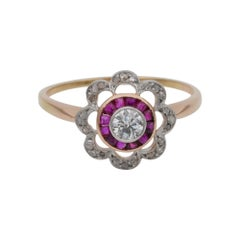 Belle Epoque Diamond Ruby Rare Target Ring, circa 1910