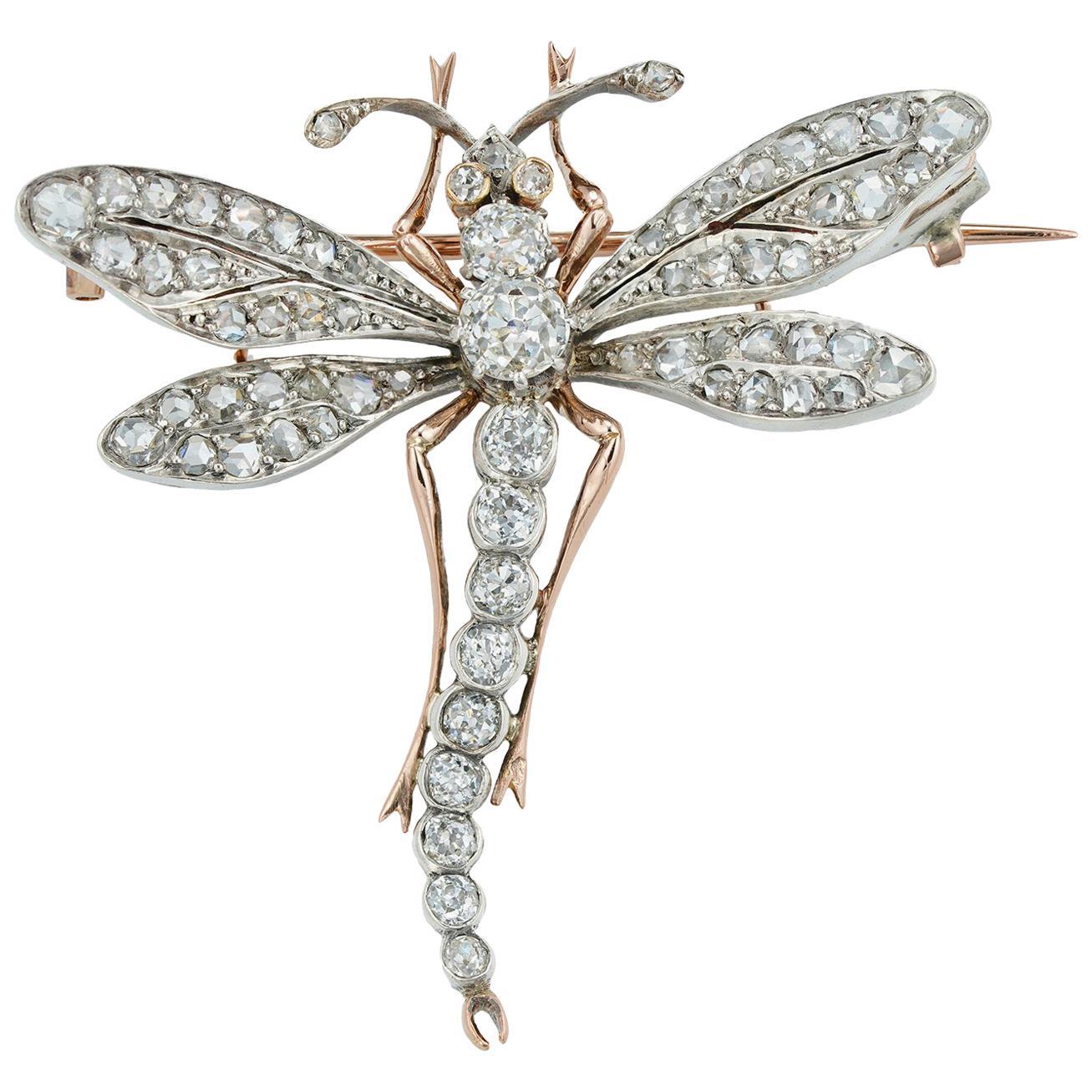 Belle Epoque Diamond-Set Dragonfly Brooch