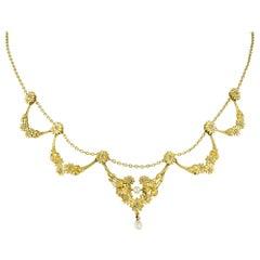 Belle Époque Diamond-Set Floral Swag Necklace
