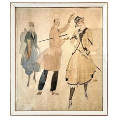Belle Époque Drawing Elegant Daytime and Leisure Fashion Drawing Watercolour Ink