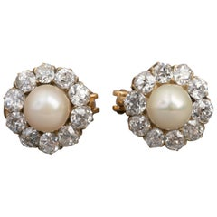 2 Carats Belle Époque Earrings, Diamonds and Pearls