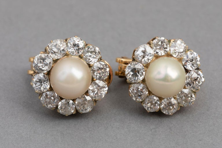 Belle Époque Earrings, Diamonds and Pearls In Good Condition For Sale In Saint-Ouen, FR