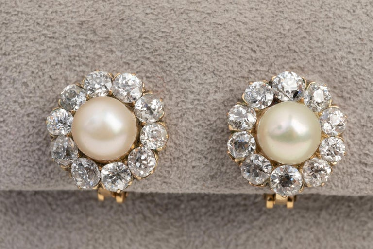 Women's Belle Époque Earrings, Diamonds and Pearls For Sale