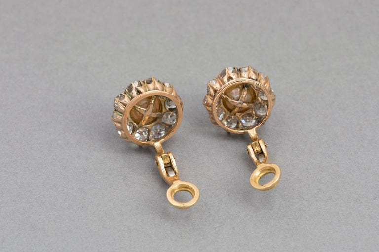 Belle Époque Earrings, Diamonds and Pearls For Sale 2