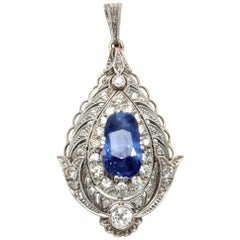 Belle Époque/Edwardian circa 1910, 4.4 Ct No Heat Blue Sapphire Diamond Pendant
