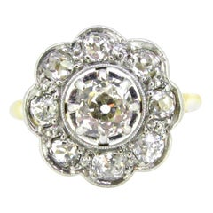 Belle Epoque Edwardian Diamonds Yellow Gold Platinum Daisy Cluster Wedding Ring