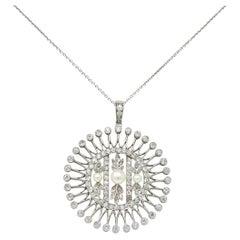 Belle Epoque Edwardian Pearl Diamond Platinum Burst Pendant Necklace