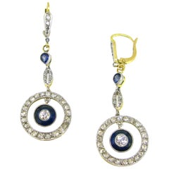Belle Époque Edwardian Sapphires Diamonds Gold Platinum Drop Dangle Earrings