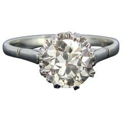 Belle Époque Edwardian Solitaire Diamond Ring, Platinum