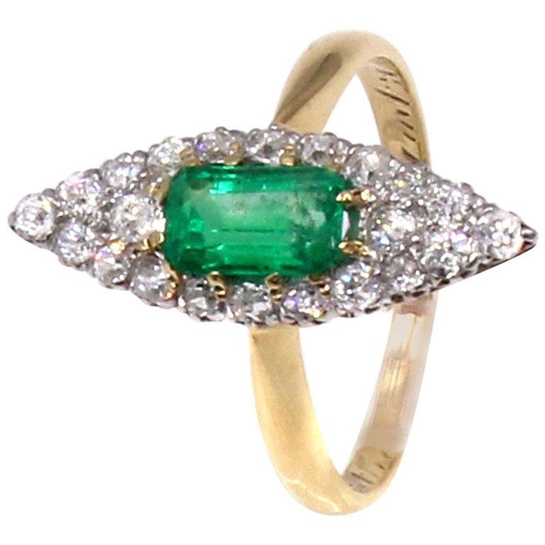 Belle Époque Emerald Old European Cut Diamond 18 Karat Gold Ring For Sale