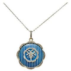 Belle Époque Enamel Diamond Platinum-Topped 18 Karat Gold Pendant Necklace