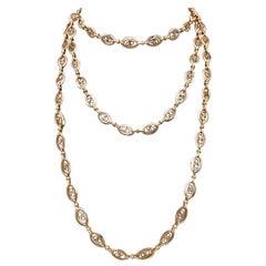 Belle Époque France 18 Karat Gold Sautoir Long Link Chain