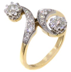 Belle Epoque French Diamond Platinum 18 Karat Tois Et Mois Ring