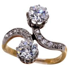 Belle Epoque French Old European Cut Diamond Toi Et Moi Ring