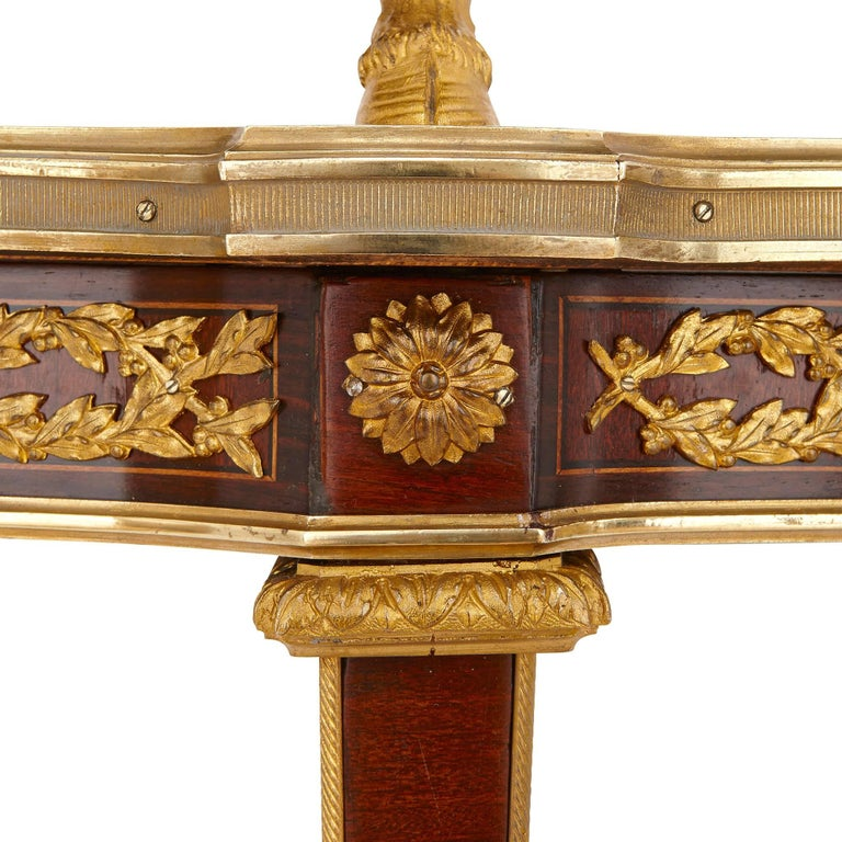 French Belle Époque Gilt Bronze and Mahogany Two-Tiered Tea Table by Maison Mottheau For Sale