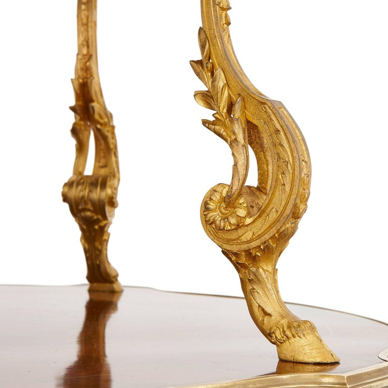 20th Century Belle Époque Gilt Bronze and Mahogany Two-Tiered Tea Table by Maison Mottheau For Sale