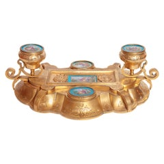 Belle Époque Gilt Bronze Inkwell with Serve's Porcelain Plaque's in Robin's Egg