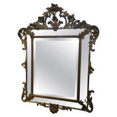 Belle Époque Gilt Gesso Cushion Mirror circa 1900 with Open Fret Work