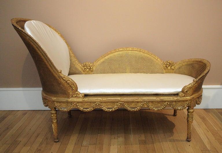 Belle Epoque Giltwood Chaise Longue Circa 1900 For Sale 4