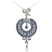 Belle Époque Guilloche Enamel Diamond Pearl Pendant or Brooch
