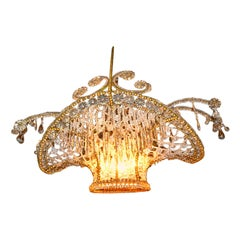 Belle Époque Late 19th Century French Crystal Beaded Flower Basket Chandelier