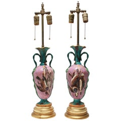 Belle Epoque Majolica Hunt-Themed Urn Table Lamps