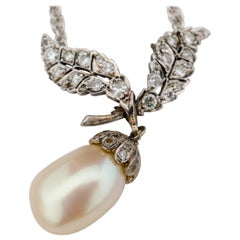 Belle Époque Natural Pearl and Diamond Pendant Necklace