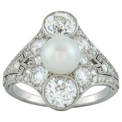 Belle Époque Natural Pearl and Diamond Ring