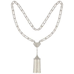Belle Epoque Natural Pearl and Diamond Sautoir Necklace