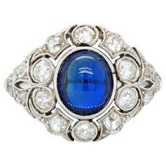 Belle Époque Natural Sapphire and Diamond Ring, circa 1910s