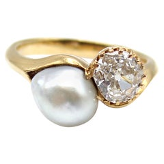 Belle Époque Old European Cut Diamond and Pearl 18 Karat Gold Ring