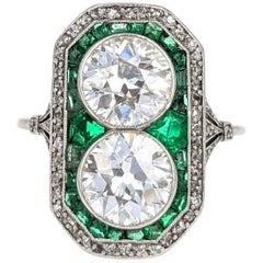 Belle Époque Old European Cut Diamond Emerald and Platinum French Ring