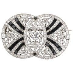 Belle Époque Onyx and Diamond Platinum Brooch